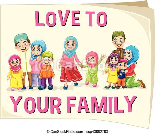 différent, musulman, groupe, âge, famille - csp43882783