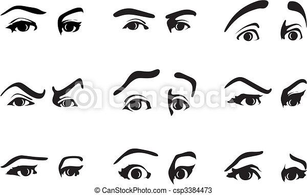 différent, oeil, illustration, vecteur, emotions., exprimer, expression - csp3384473