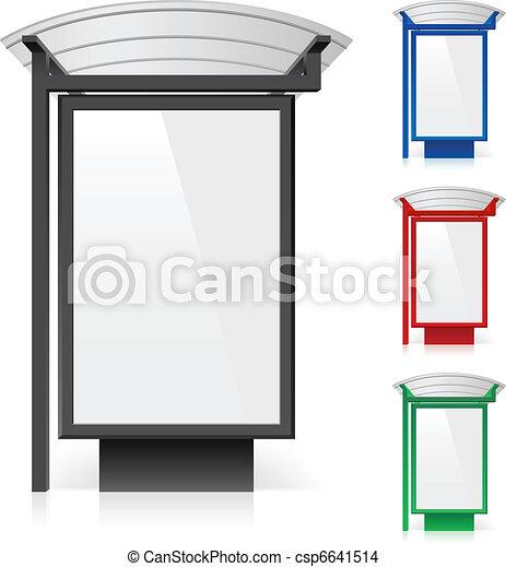 différent, panneau affichage, arrêt, couleurs, autobus - csp6641514