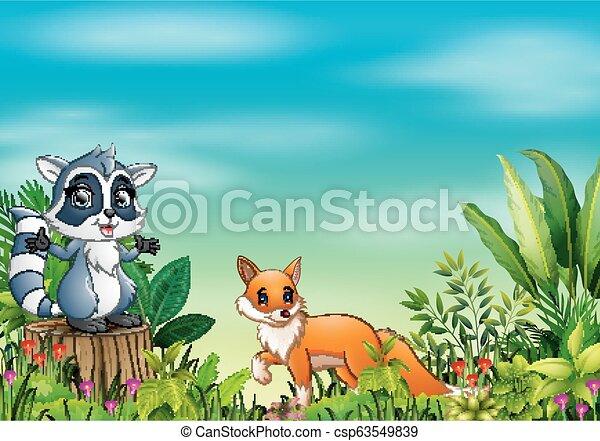différent, parc, dessin animé, animal - csp63549839