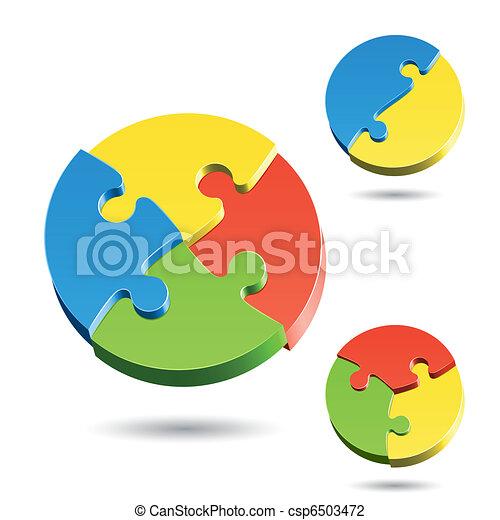 différent, puzzle, formes, puzzle - csp6503472