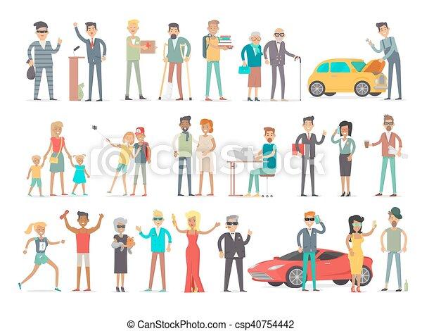 différent, social, caractères, collection, niveau - csp40754442