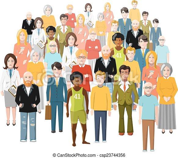 différent, vieux gens, isolé, groupe, international, jeune, social, statut, blanc - csp23744356