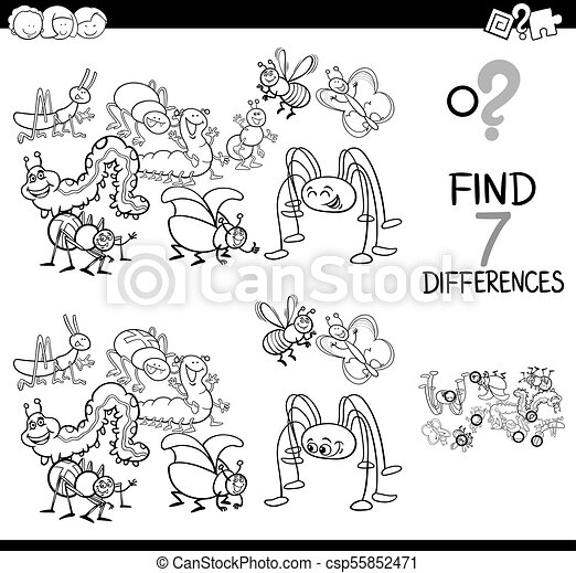 differences game with bugs group coloring book - csp55852471