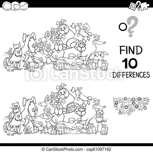 differences game with cats and dogs color book - csp61097162