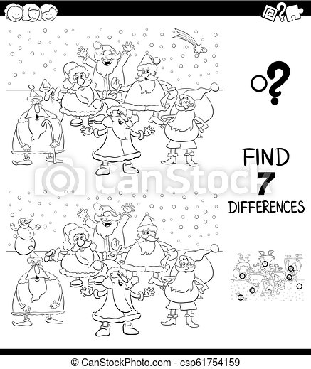 differences game with Christmas Santa color book - csp61754159