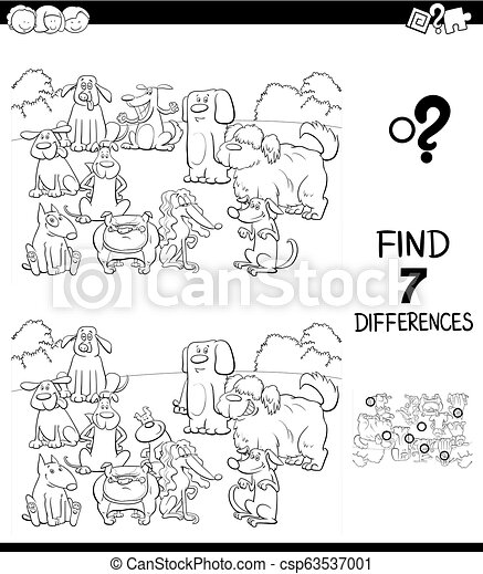 differences game with dogs color book - csp63537001