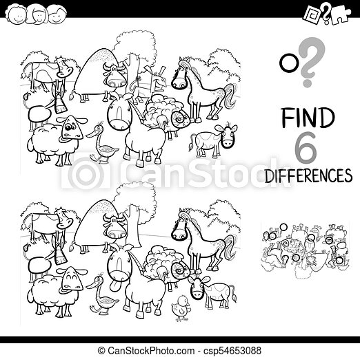 Differences game with farm animals coloring book. Black and white ...