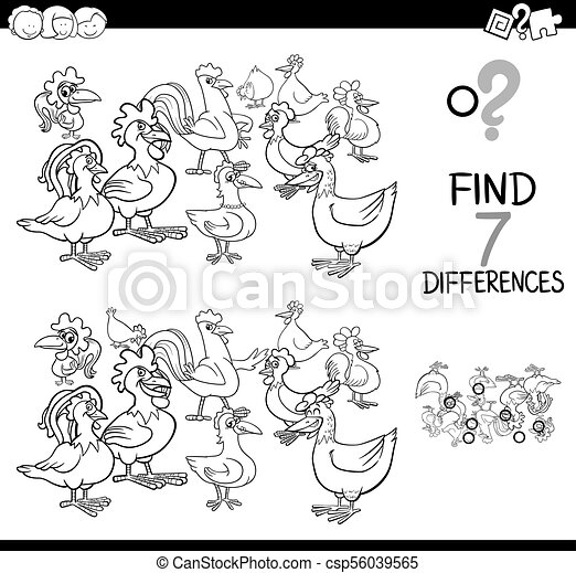 differences game with farm chickens coloring book