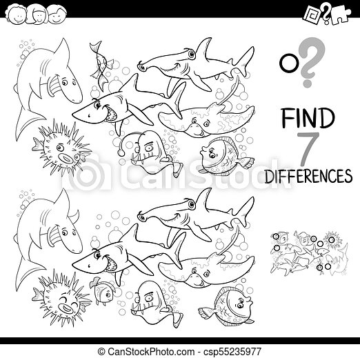 differences game with fish coloring book - csp55235977