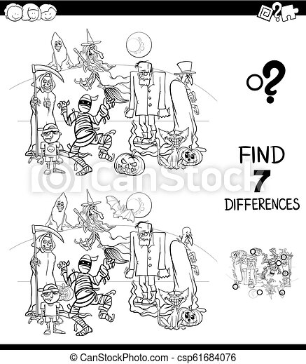 differences game with funny characters color book - csp61684076