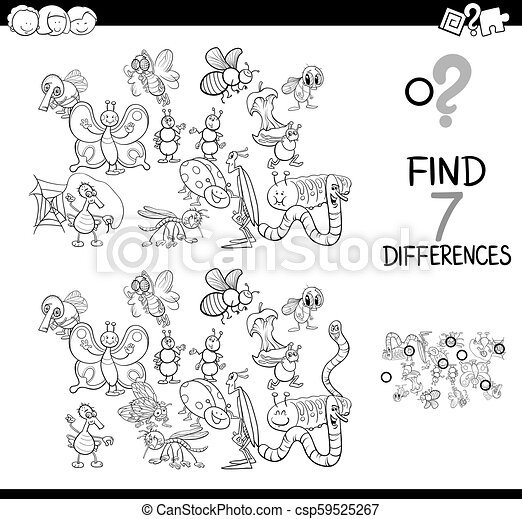 differences game with insects color book - csp59525267