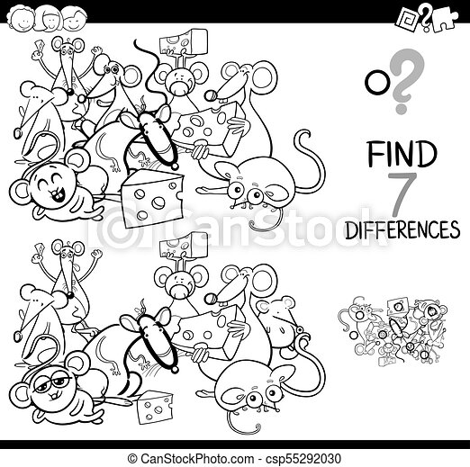 differences game with mice characters color book black and white