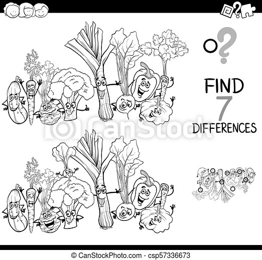differences game with vegetables color book - csp57336673