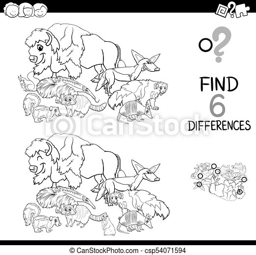 Differences Game With Wild Animals For Coloring Black And White