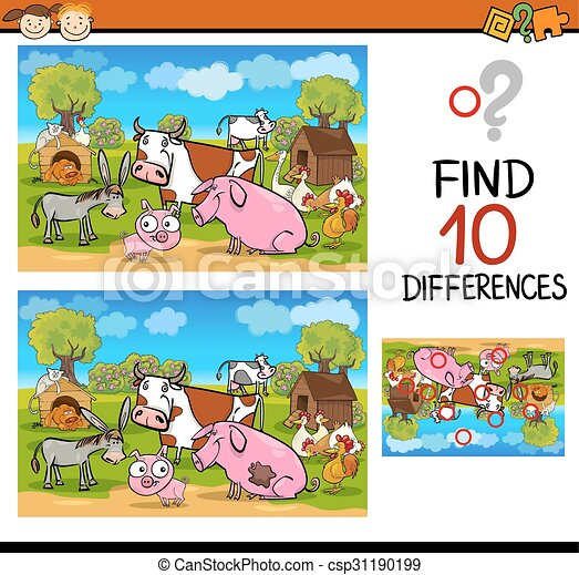 differences test with farm animals - csp31190199
