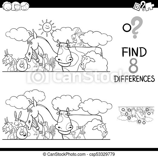 Differences with farm animals color book. Black and white cartoon ...