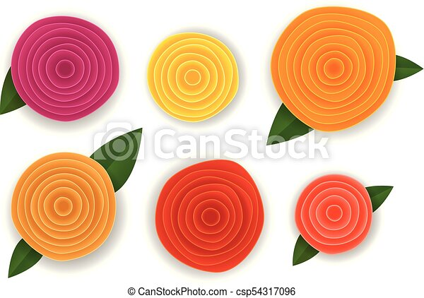 Different abstract paper style flowers vector collection isolated on white - csp54317096
