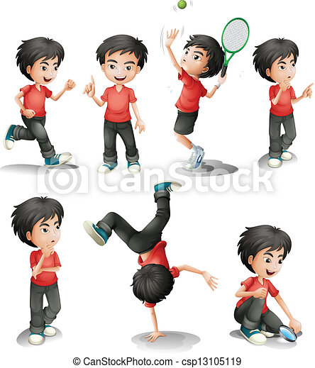 Different activities of a young boy - csp13105119