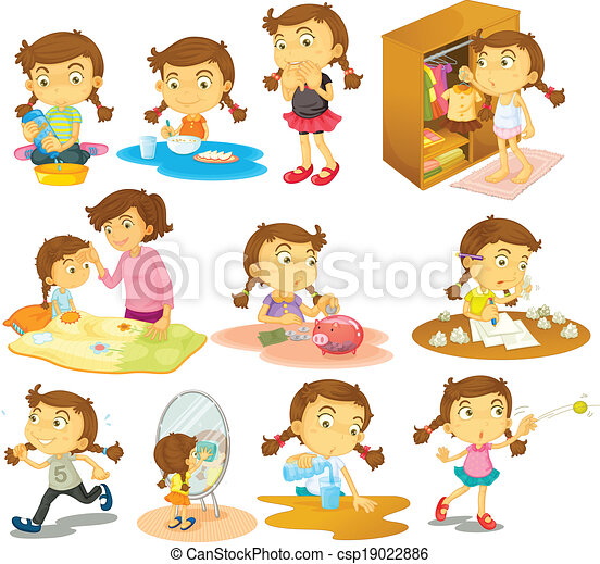 Different activities of a young girl - csp19022886