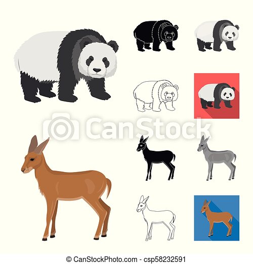 Different animals cartoon, black, flat, monochrome, outline icons in set collection for design. Bird, predator and herbivore vector symbol stock web illustration. - csp58232591