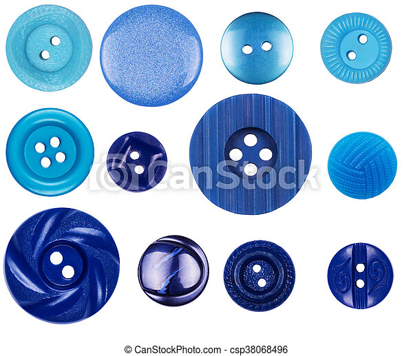 Different blue buttons on white background - csp38068496