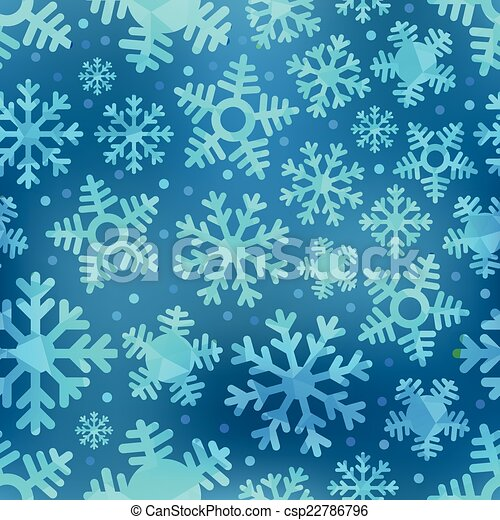 Different blue snowflakes set. Abstract seamless background - csp22786796