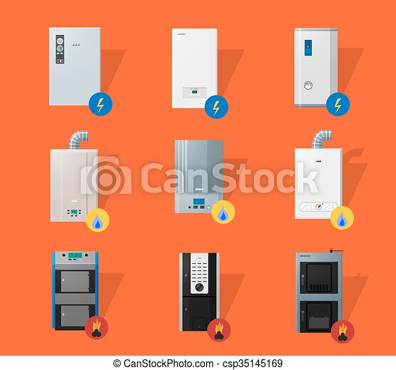 Different boilers flat icons. Different boilers icons set in ...