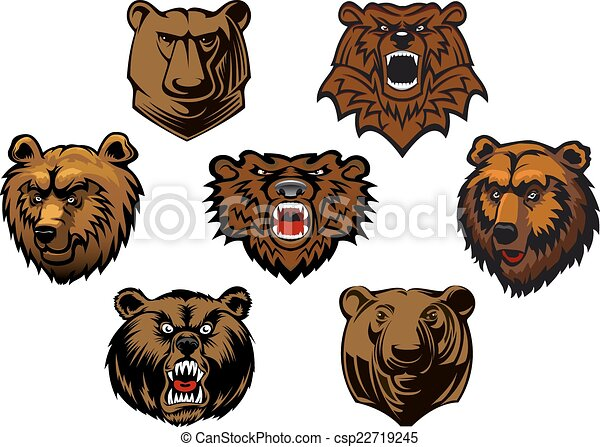 Different brown bear heads - csp22719245