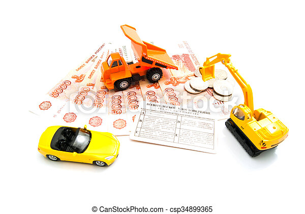 different cars, driving license and money - csp34899365