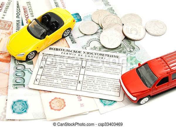 different cars, driving license, coins and banknotes - csp33403469