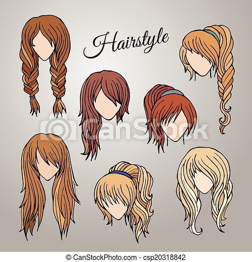 Different Cartoon Hairstyles Abstract Vector Women With Eps - Different hair style drawing