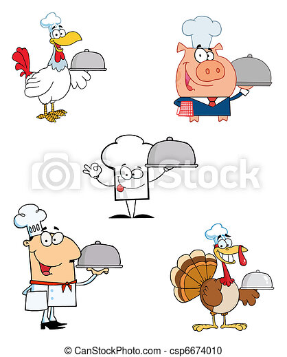 Different Chef Cartoon Mascot  - csp6674010