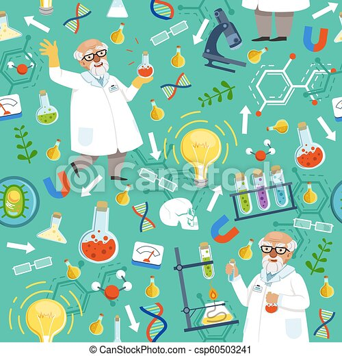 Different Chemical Or Biological Tools Professor Of Medicine Vector Seamless Pattern