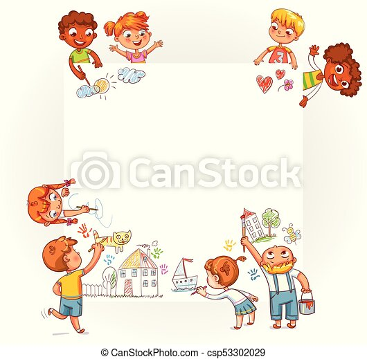Different children draw on large poster - csp53302029
