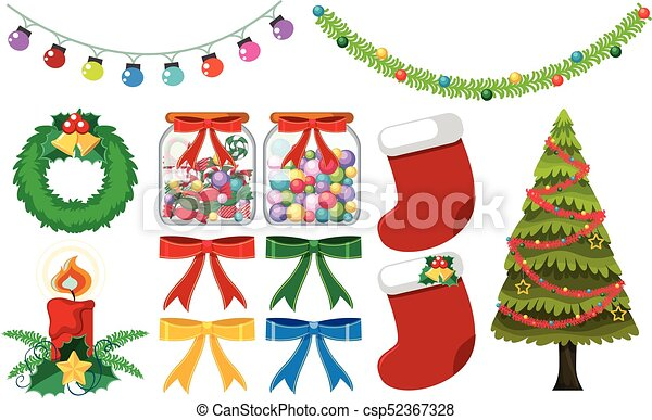 different christmas decorations on white background csp52367328 - Different Christmas Decorations