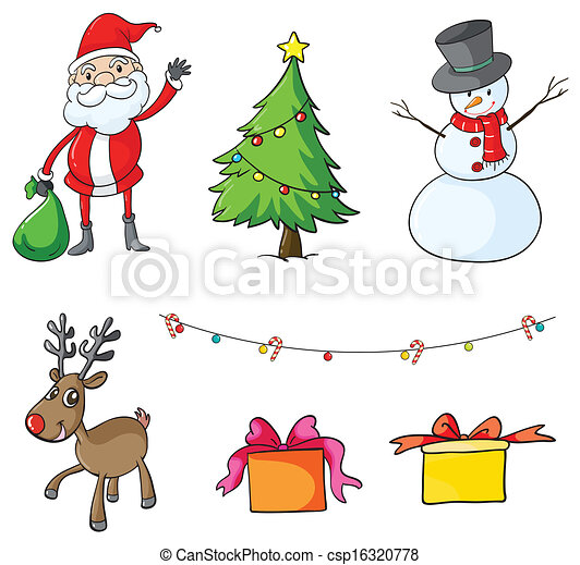 Illustration Of The Different Christmas Symbols On A White