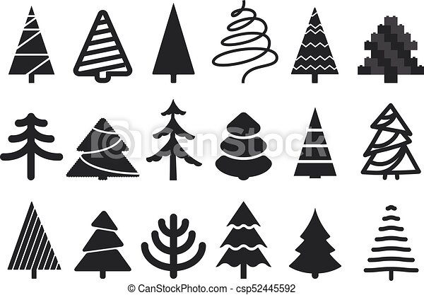 Christmas Tree Clipart Silhouette.Different Christmas Tree Silhouettes Isolated On White Xmas