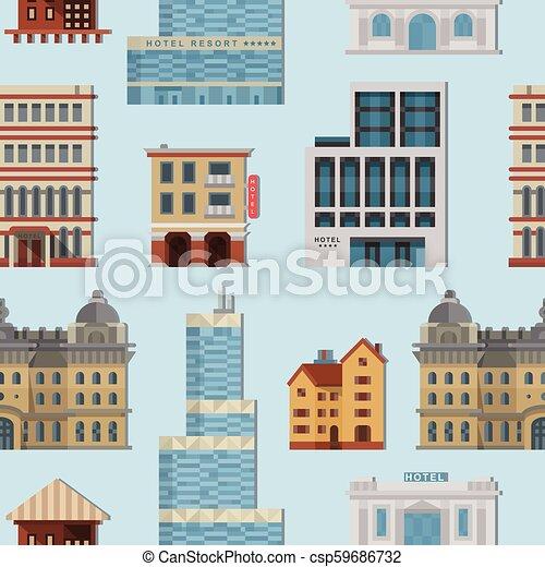 Different city public vector buildings houses set flat design ...