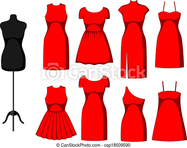 Different Cocktail and Evening Dresses - csp18509590