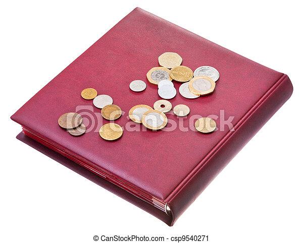 different coins on red numismatics album - csp9540271