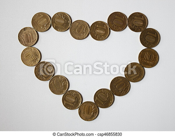 different coins on the table - csp46855830