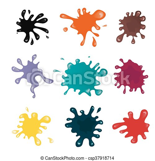 Different Collection Of Colorful Paint Splash Vector Set Of