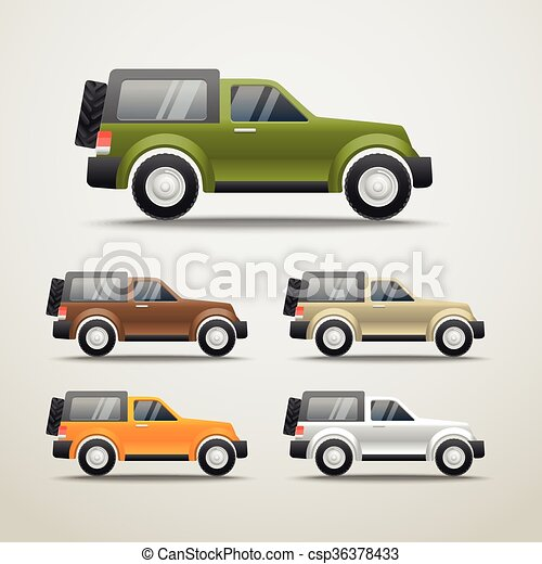 Different color cars vector illustration - csp36378433