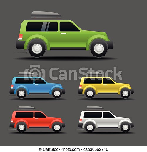 Different color cars vector illustration - csp36662710