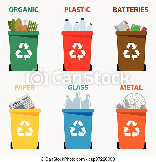 Different colored recycle waste bins vector illustration, Waste types segregation recycling vector illustration. Organic, batteries, metal plastic, paper, glass waste. Vector illustration - csp37226003