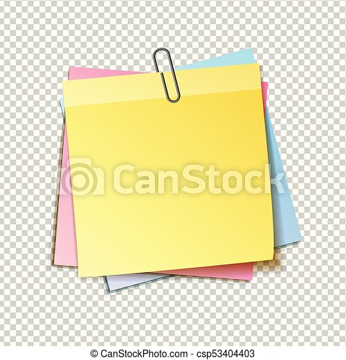 different colored sheets of note papers collection curled corner