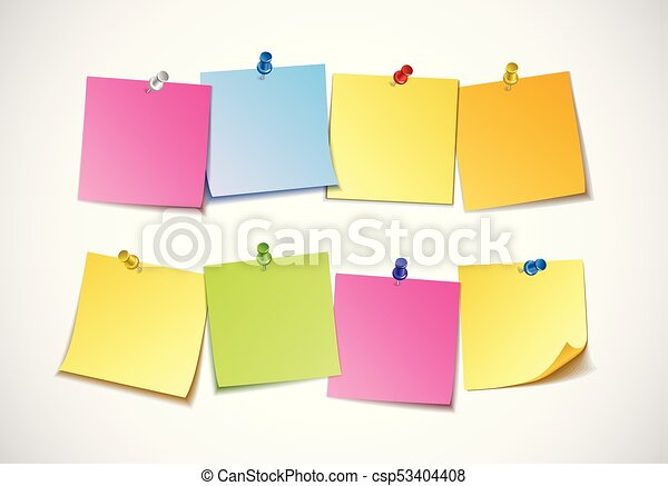 Different colored sheets of note papers collection. curled corner ...