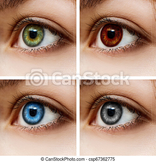 Woman With Different Color Of Eyes Different Colorful Contact Lenses