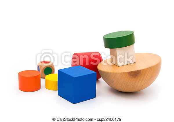 different colors and shapes wooden blocks on white - csp32406179